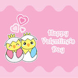 Valentine`s day card with cute chicks love each others Royalty Free Stock Photo
