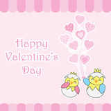 Valentine`s day card with cute couple chicks bring love balloons Royalty Free Stock Photos