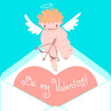 Valentine's Day card with cute Cupids and hearts. Stock Photography