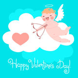 Valentine's Day card with cute Cupids and hearts. Royalty Free Stock Images