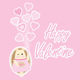 Valentine`s Day card with cute hedgehog and love balloons. Suitable for Valentine greeting card, postcard, and invitation card Stock Photo