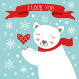 Valentine`s day card with cute polar bear Stock Photography
