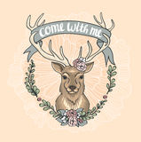 Valentine's Day card with a deer, a flower wreath and a tape. Royalty Free Stock Images