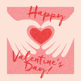 Valentine's Day Card. Design with 2 hands making a heart Royalty Free Stock Photo