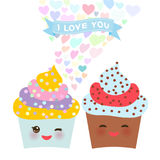 Valentine`s Day Card design with Kawaii cake with pink cheeks and winking eyes, pastel colors on white background. Vector. Illustration Royalty Free Stock Photos