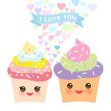 Valentine`s Day Card design with Kawaii cake with pink cheeks and winking eyes, pastel colors on white background. Vector. Illustration Royalty Free Stock Images