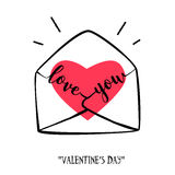 Valentine`s day card in doodle style. Hand-drawn envelope with heart and lettering. Vector vector illustration