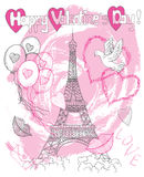 Valentine's Day card with the Eiffel tower, dove and hearts Stock Images