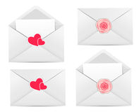 Valentine`s Day Card with Envelope, Heart and Rose Royalty Free Stock Photo
