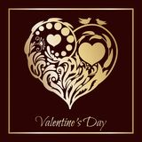 Valentine`s day card. Floral heart. beautiful silhouette of the heart of lace flowers, tendrils and leaves. Vector. Valentine`s day card. Floral heart with a vector illustration