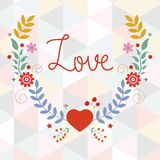 Valentine`s day card with floral wreath. On geometric background Royalty Free Stock Image