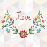 Valentine`s day card. With floral wreath on geometric background Royalty Free Stock Photography