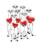 Valentine's Day Card With Funny Meerkats. Stock Photography