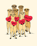 Valentine's Day Card With Funny Meerkats. Stock Photo