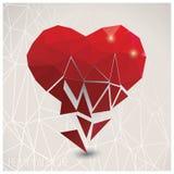 Valentine s day card, geometric triangle pattern, broken heart, Stock Photos