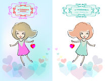Valentines Day card with the girl and hearts. Royalty Free Stock Photos