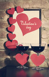 Valentine`s Day card with glasses of wine Stock Photography