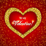 Valentine's day card. With glitter heart. Be my Valentine text message.  Vector illustration Stock Photos