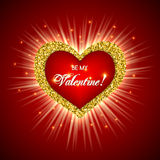 Valentine's day card. With glitter heart. Be my Valentine text message.  Vector illustration Royalty Free Stock Image