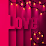 Valentine's day card with glowing decorative lights Stock Photos