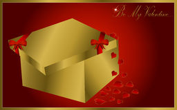 Valentine´s day card. With gold gift and hearts Stock Photo