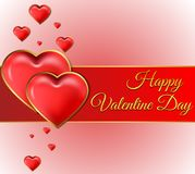 Valentine`s day card with gold lettering Stock Photos
