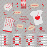 Valentine's Day Card. Handmade things for dear. Knitting, embroidery, applique on the theme of Love. Gifts for loved ones Stock Photo