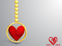 Valentine`s day card. With hanging heart Royalty Free Stock Images