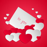 Valentine`s Day card. Happy Valentine`s day. Valentine greeting card with hearts. Love romantic messages. Vector illustration Royalty Free Stock Photos