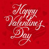 Valentine`s day card. Happy Valentine`s Day hand drawn lettering. Red hearts background Stock Image