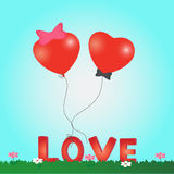 Valentine's Day card heart balloon Stock Photo