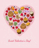 Valentine's Day. Card with heart in cell, bird and cakes in vintage style. Royalty Free Stock Images