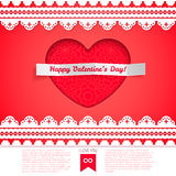 Valentine's day card, heart cut out of paper Royalty Free Stock Photos