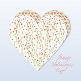 Valentine's Day Card. Heart envelope with tulips and flowers in the form of hearts. Pink tulips on a white background and hearts on a green background Royalty Free Stock Image