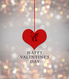 Valentine`s day card. With valentine heart on grey background with red bow, ribbon, colorful blurred, bokeh lights and happy valentine`s day text, love message Stock Photography