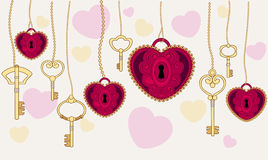 Valentine's Day card a heart with keys. Vector illustration Stock Photography