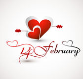 Valentines day card for heart lettering 14 Februar Royalty Free Stock Image