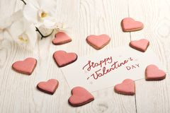 Valentine`s Day card. Heart ookies stock photo