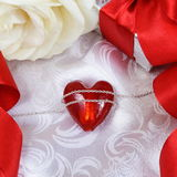 Valentine\'s Day Card with Heart over Silk Stock Photo