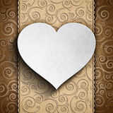 Valentine's Day card - heart on patterned background Stock Photography