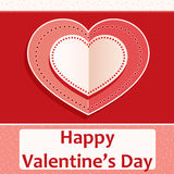 Valentine`s day card,with heart shape decoration. Valentine`s day card with heart shape decoration on red and white background Royalty Free Stock Images