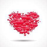 Valentine's Day card with heart shape made of scattered symbols of love Royalty Free Stock Photo