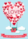 Valentine's Day Card with heart shaped flying balloon. Vector illustration of a Valentine's Day Card with heart shaped flying balloon over  the landscape Royalty Free Stock Image