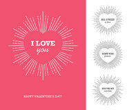 Valentine`s day card with heart shaped frame and sunburst Royalty Free Stock Image