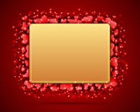 Valentine's day card with hearts. Valentine's day golden card with hearts red background Stock Images