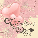 Valentine's day card with hearts. On red background Royalty Free Stock Photography