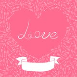 Valentine's Day card with hearts and arrows Stock Images