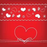 Valentine's Day card with hearts and flowers, heart frame Royalty Free Stock Photos