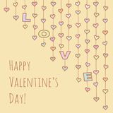 Valentine`s Day card with hearts garlands. Multicolor hearts and letters «LOVE» hanging on strings for valentine design. Vector illustration with stock illustration