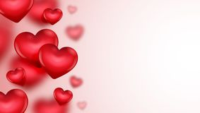 Valentine`s day card with hearts illustration. On white background Stock Photos